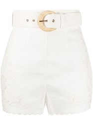 Zimmermann Peggy Embroidered High Rise Shorts 60