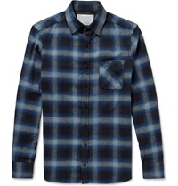 Kolor Slim Fit Checked Cotton Flannel Shirt Blue