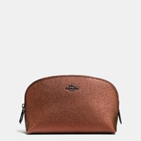 Coach Cosmetic Case 17 In Metallic Leather Matte Black Metallic Rust