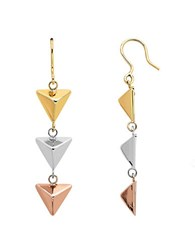 Lord And Taylor 14K Yellow White Rose Gold Pyramid Drop Earrings Tri Gold