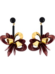 Erika Cavallini Semi Couture Flower Drop Earrings Red