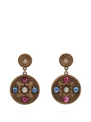 Jade Jagger Pearl And Ruby 18Kt Gold Star Medallion Earrings Gold