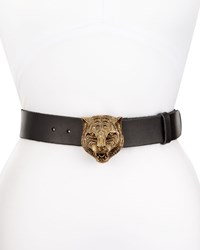 Gucci Leather Tiger Buckle Belt Black Size 34In 85Cm