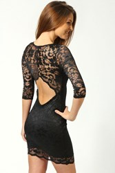 Boohoo Scallop Detail Open Back Lace Bodycon Dress Black