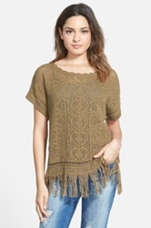 Sun And Shadow 'Pretty Stitch' Crochet Fringe Tee Juniors Brown