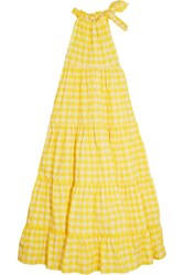 Marques' Almeida Gingham Twill Halterneck Maxi Dress Yellow