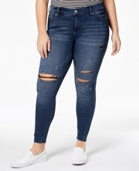 Celebrity Pink Plus Size Distressed Skinny Ankle Jeans Fake Out