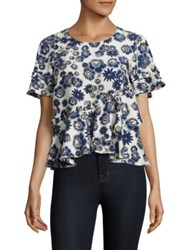 Cinq A Sept Hydra Floral Print Peplum Silk Top Blue Multicolor