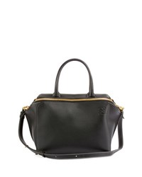 Loewe Leather Zipper Tote Bag Black