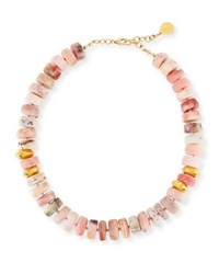 Devon Leigh Short Pink Opal Nugget Beaded Necklace Gold