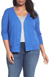 Three Dots Plus Size Women's V Neck Cardigan Seaside