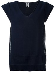 Bark Side Slit Sleeveless Jumper Blue