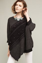 Anthropologie Cabled Catillon Poncho Dark Grey