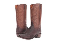 Lucchese Nick Chocolate Ostrich Tan Burnished Men's Boots Brown