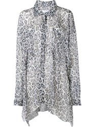 Faith Connexion Leopard Print Asymmetric Shirt Black