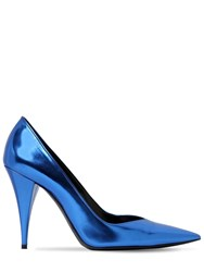 Saint Laurent 100Mm Boop Metallic Leather Pumps Blue