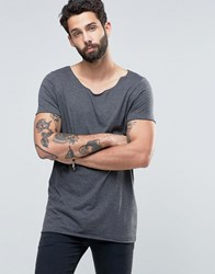 Asos Longline T Shirt With Raw Scoop Neck In Charcoal Marl Charcoal Marl Grey