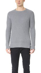 Ovadia And Sons Side Zip Crew Neck Sweater Grey