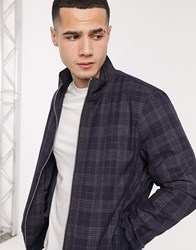 Burton Menswear Harrington Jacket In Navy Check