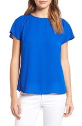 Cece Women's Flutter Sleeve Blouse Blue