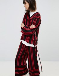 House Of Sunny Tie Side Top In Stripe Co Ord Black Red