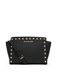 Michael Michael Kors Selma Leather Studded Medium Messenger Bag Black