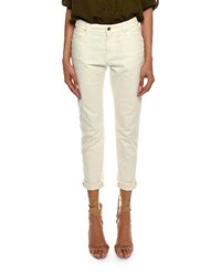 Tom Ford Mid Rise Cropped Boyfriend Style Jeans Ivory