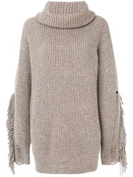 Stella Mccartney Fringe Sleeve Sweater Women Cashmere Wool 44 Nude Neutrals
