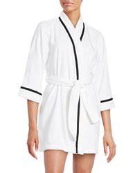 Kate Spade Embroidered Terry Short Robe White