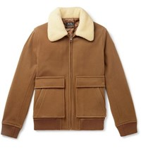 A.P.C. Bronze Faux Shearling Trimmed Boiled Wool Blend Bomber Jacket Brown