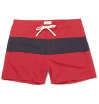 Saturdays Surf Nyc Grant Short Length Colour Block Faille Swim Shorts Red