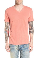 The Rail Men's V Neck Cotton T Shirt Orange Zest Gd