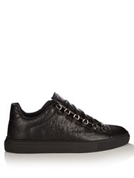 Balenciaga Arena Low Top Leather Trainers Black