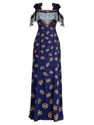 Mary Katrantzou Canasta Floral Print Fil Coupe Gown Blue Multi
