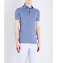 Richard James Contemporary Fit Cotton Piqua Polo Shirt Sky