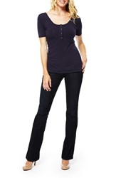 Women's Nom Maternity Ruched Nursing Maternity Tee Navy
