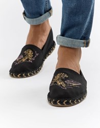 Asos Design Black Espadrilles In Black With Tiger Embroidery Stone
