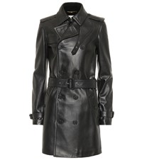 Saint Laurent Leather Trench Coat Black