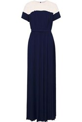 Mikael Aghal Woman Belted Pleated Two Tone Crepe De Chine Gown Navy