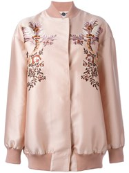 Stella Mccartney Floral Embroidery Bomber Jacket Pink And Purple