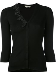 Fendi Embroidered Fitted Cardigan Women Silk 42 Black