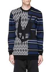 Mcq By Alexander Mcqueen Stripe Swallow Zigzag Intarsia Wool Sweater Multi Colour
