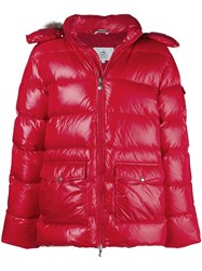 Pyrenex Fur Trim Hood Padded Jacket Red