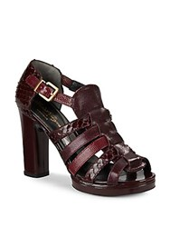 Robert Clergerie Snake Embossed High Heel Sandals Red