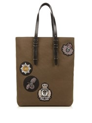 Alexander Mcqueen Badge Embellished Canvas Tote Green Multi