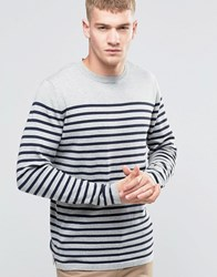 Jack And Jones Bretton Stripe Knitted Crew Grey