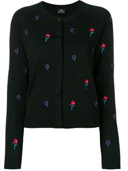 Paul Smith Ps By Embroidered Floral Cardigan Black
