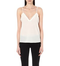 The Kooples Lace Insert Silk Camisole Ecru