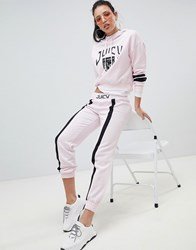 Juicy Couture By Joggers With Contrast Stipe And Logo Waistband Hush Pink