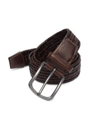 Saks Fifth Avenue Collection Tonal Woven Leather Belt Brown Cognac